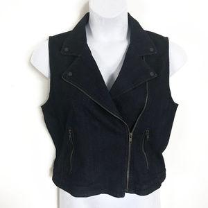 NWT Ann Taylor LOFT Dark Fitted Jean Vest
